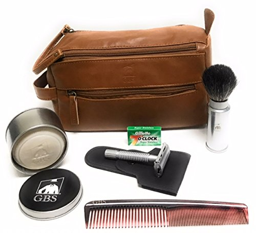 (GBS Men's Shaving Set Travel Kit Dopp Toiletry Bag, Pure Badger Travel Shave Brush Silver Case Chrome Butterfly Double Edge Razor, 7