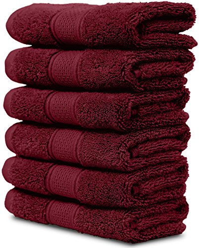 Maura 6 Piece Washclothes Set. Extra Large 13x13 Premium Turkish Towels. Thick, Soft, Plush and Highly Absorbent Luxury Hotel & Spa Quality Towels - Burgundy