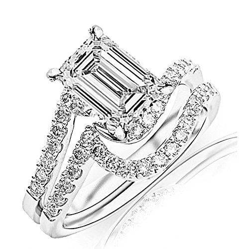 0.77 Carat t.w. GIA Certified Emerald Cut Platinum Curving Pave & Prong-set Round Diamond Engagement Ring and Wedding Band Set (D-E Color SI1-SI2 Clarity Center Stones) (Diamond 0.77 Ct Emerald Cut)