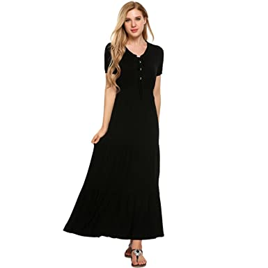 Gorgioous Pleated Hem Tunic Maxi Dress Women Elastic Waist Long Summer Vestidos