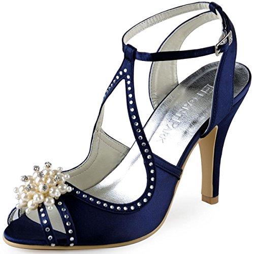 ElegantPark EP11058 Women High Heel Pumps Peep Toe Pearls Straps Evening Prom Wedding Sandals Navy Blue US 8
