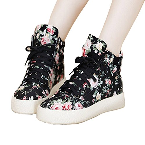 Top Shop Womens Lo-top Gym Canvas Floral Lace Up Trainers Flat Slip-on...