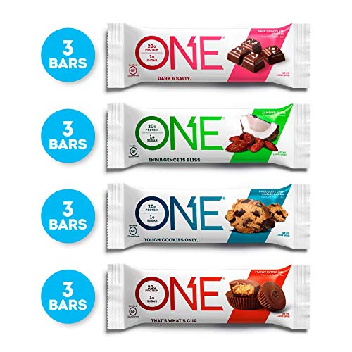 ONE Protein Bars, Chocolate Lovers Variety Pack, Gluten Free 20g Protein and only 1g Sugar, Dark Chocolate Sea Salt, Chocolate Chip Cookie Dough, Peanut Butter Cup & Almond Bliss, 2.12 oz (12 Pack)