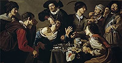 The High Quality Polyster Canvas Of Oil Painting 'Rombouts Theodoor El Charlatan Sacamuelas 1620 25 ' ,size: 12 X 23 Inch / 30 X 59 Cm ,this Amazing Art Decorative Canvas Prints Is Fit For Kids Room Artwork And Home Artwork And Gifts