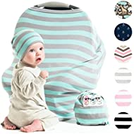 Cool Beans Stretchy Baby Car Seat Canopy and Nursing Cover   Multiuse - Soft and stretchy fabric easily covers Carseat, High Chairs, Shopping Carts   BONUS Infant Baby Beanie and Bag (Blue and Grey)