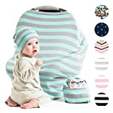 Cool Beans Stretchy Baby Car Seat Canopy and Nursing Cover - Multiuse - Soft and Stretchy Fabric Easily Covers Carseat, High Chairs, Shopping Carts - Bonus Infant Baby Beanie and Bag (Blue and Grey)