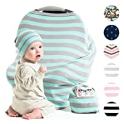 Cool Beans Stretchy Baby Car Seat Canopy and Nursing Cover | Multiuse - Soft and stretchy fabric easily covers Carseat, High Chairs, Shopping Carts | BONUS Infant Baby Beanie and Bag (Blue and Grey)