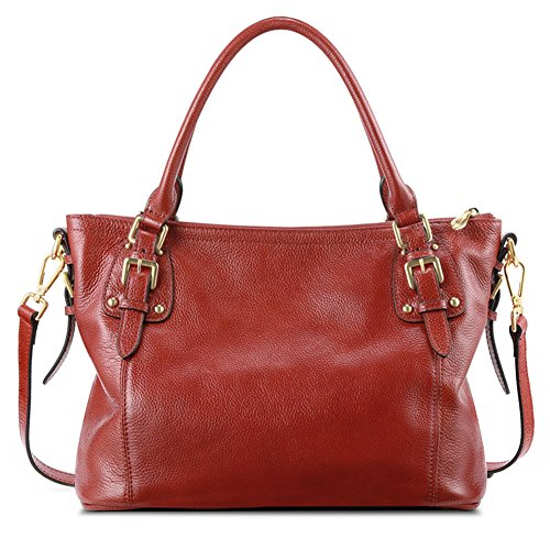 bcd54f5c9 Kattee Women's Vintage Soft Leather Tote Shoulder Bag(Orange red, Small) by  Kattee