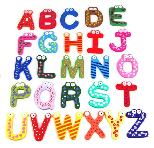 [26pcs Letters 10 Number Kids Wooden Alphabet Fridge Magnet Child Educational Toy] (Animals That Start With The Letter A)