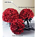 13pc-Apple-Red-with-Black-Ribbon-Wedding-Flowers-Package-Bouquet-Boutonniere-Corsages