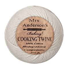 Mrs. Anderson's Cooking Twine makes everyday and holiday food preparation easier. Quickly truss a chicken or holiday turkey, secure crown roasts, Italian braciole or bacon-wrapped filets. A helpful addition to charcuterie supplies (the art of...