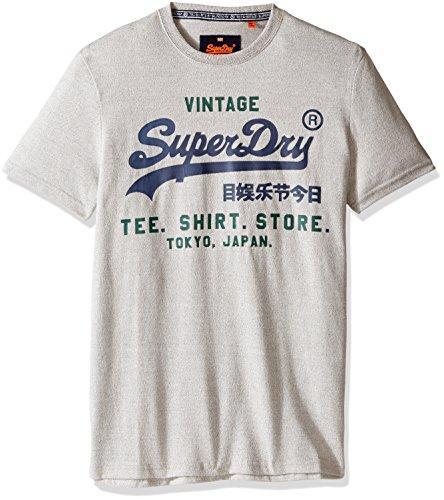 Superdry Men's Shirt Shop Duo Tee, Light Grey Grit,