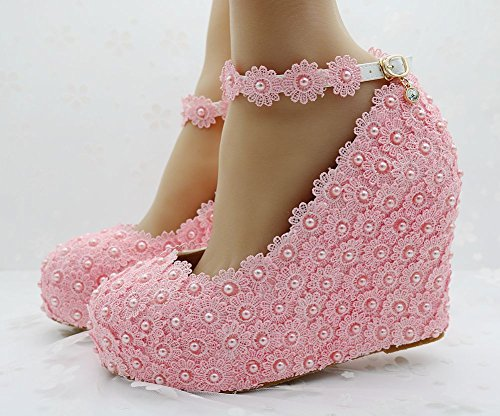 height Shoes Wedding Thin pink 11 Lace cm White Wedge Wristband Shoes Women's Shoes ngR7ZX7