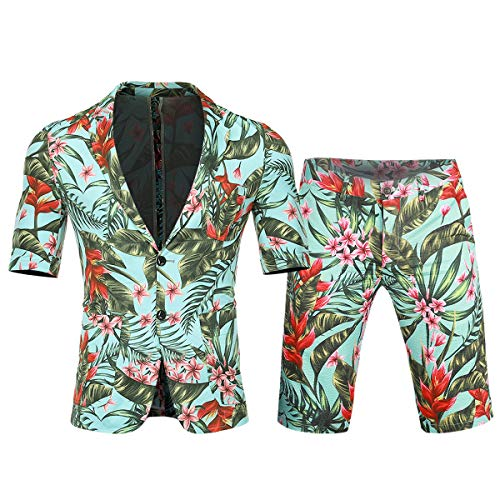 - Cloudstyle Men's 2 Piece Short Sleeve Suit Hawaiian Tropical Beach Party Blazer & Pants