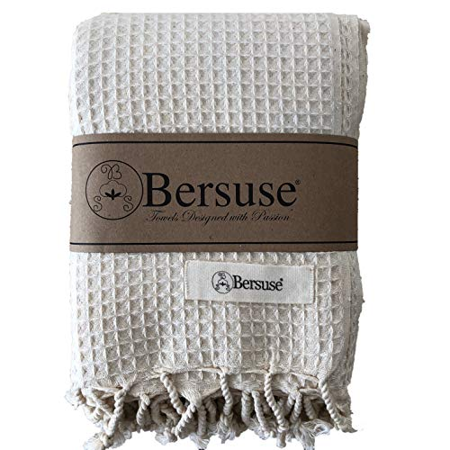 Bersuse 100% Cotton - Waffle Extra Large (XL) Throw Blanket Turkish Towel - Bath Beach Fouta Peshtemal - Bed, Couch Throw, Table Cover, Picnic Mat - Handloom Weave - 60X82 Inches, Natural