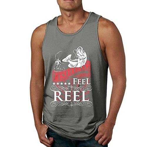 Dasiney King Men Fishing Feel Reel Muscle Jogging DeepHeather Shirt S Tank Tops -