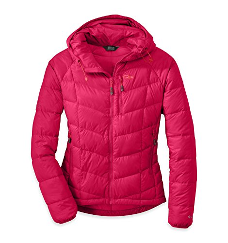 - Outdoor Research Women's Sonata Hooded Down Jacket, Scarlet/Flame, Small