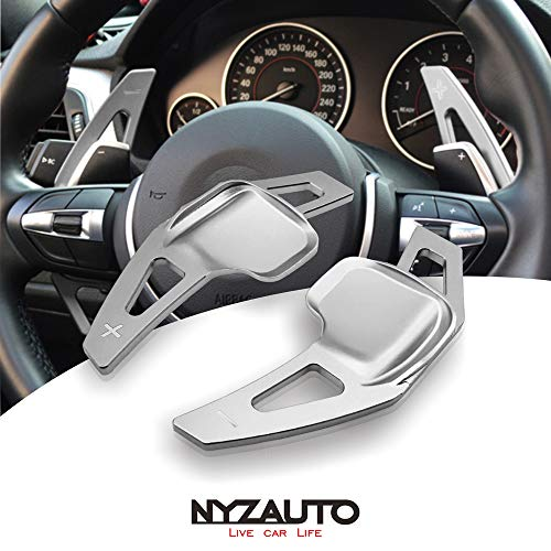 NYZAUTO Aluminum-Alloy Steering Wheel Paddle Shifter Extension For BMW 2 3 4 X1 X2 X3 X4 X5 X6 series,F Chassis - Silver