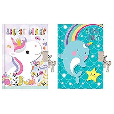 The Home Fusion Company Kids Glitter Unicorn Or Narwhal A6 Secret Diary with Padlock & Key: Home & Kitchen