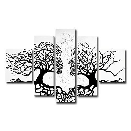 FLY SPRAY 5 Panels Artwork 100% Hand-Painted Oil Paintings Panels Stretched Framed White Trees Couple Kiss Love Modern Abstract Canvas Living Room Office Wall Art