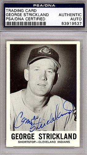 George Strickland Signed 1960 Leaf Card #30 Cleveland Indians - PSA/DNA Authentication - Autographed MLB Trading Cards (Strickland Signed)