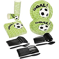 Soccer Party Supplies – Serves 24 – Includes Plates, Knives, Spoons, Forks, Cups and Napkins. Perfect Soccer Birthday Party Pack for Kids Soccer Themed Parties.