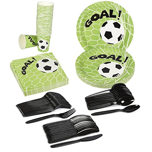 Disposable Dinnerware Set - Serves 24 - Soccer Party Supplies - Plastic Knives, Spoons, Forks, Paper Plates, Napkins, (Football Themed Wedding)
