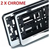 2x CHROME effect Number Plate Surrounds Holder Frame ABS PC plastic