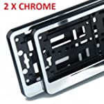 2x CHROME effect Number Plate Surroun...