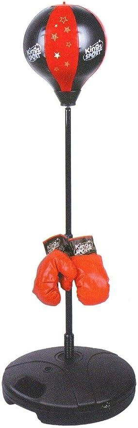 Sacco Boxe Bambini Con Guantoni Grande Piantana Punching Ball Regolabile 90 113 cm