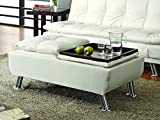 Coaster Home Furnishings  Modern Contemporary Pillow Double Flip Top Service Tray Storage Ottoman with Chrome Legs - White Faux Leather