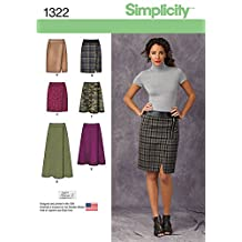 Simplicity Creative Patterns 1322 Misses' Mock Wrap Slim and Flared Skirts Sewing Patterns, Size K5 (8-10-12-14-16)