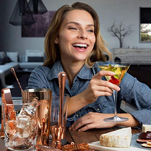 Copper Cocktail Shaker Set​ for Bar Kit, Stainless Steel ​& Glass - ​Complete​ 15 Piece ​Boston Bartending Mixology Kit​ with Tin Shakers, Strainers, Jigger, Muddler, and Accessories for Mixed Drinks by Fifth Label (Image #9)