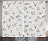 Ambesonne Grey Decor Collection, Illustration of Weird Forest Animals in Retro Style Rabbit Fox Dear Wild Life Boho Chic Art Home, Living Room Bedroom Curtain 2 Panels Set, 108X90 Inches, Gray