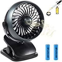 Rechargeable Clip on Fan, USB or Battery Operated Small Aroma Fan with 4 Speeds, 360 Degree Rotation, Quiet Desk Fan, Powerful Wind for Baby Stroller, Crib, Outdoor Activity, Home and Office
