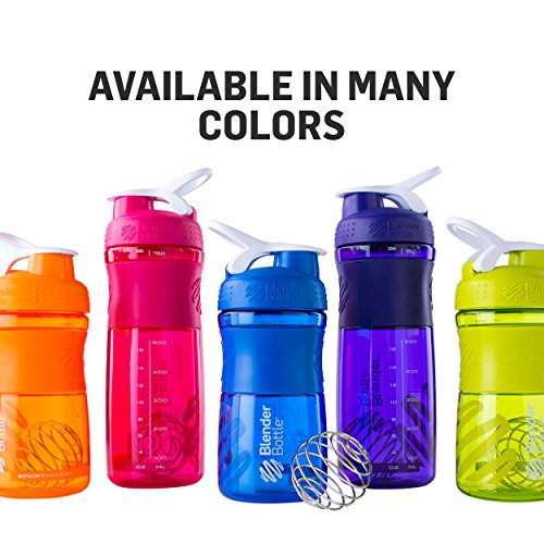BlenderBottle SportMixer Tritan Grip Shaker Bottle, Black/Black, 28-Ounce
