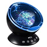 Elecstars Ocean Wave Projector Remote Control Ocean Wave Night Light with 12 LEDs & 7 Color Changing Modes Built-in Soft Music Player for Living Room and Bedroom (Black) (Black)