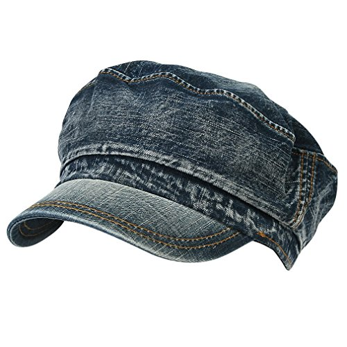 Washed Denim Military Cadet Cap