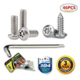 License Plate Screws Stainless Steel Anti Theft Tamper Resistant Bulk Kit For License Plates Security And Covers ( 46 Pc)