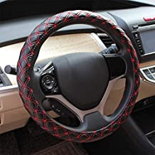 Fashion Microfiber Leather Car Steering Wheel Cover 38Cm/15 Inch Four Seasons Universal, Sweat-Absorbent, Non-Slip, Anti-Static, Two-Color