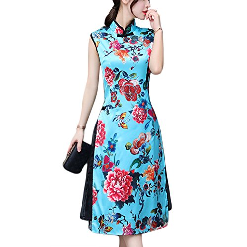 HÖTER Women's Qipao High Split Slim Dress Printed Sleeveless Vintage Chinese Silk - Exquisite Silk Dresses