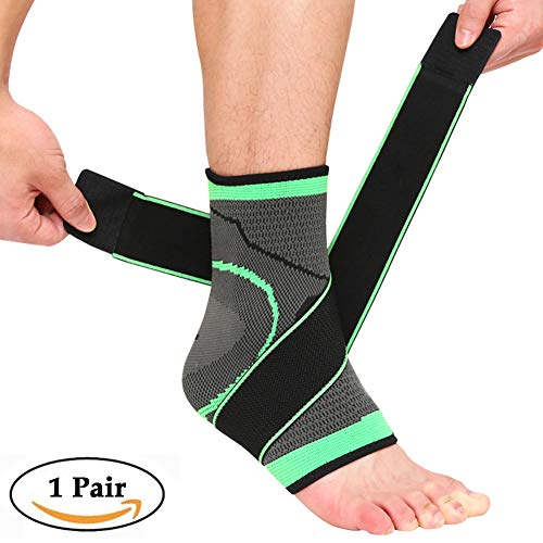 Beister 2 Pack Ankle Brace Compression Support Sleeve for Women and Men, Elastic Sprain Plantar Fasciitis Foot Socks for Injury Recovery, Joint Pain, Achilles Tendon, Heel Spurs