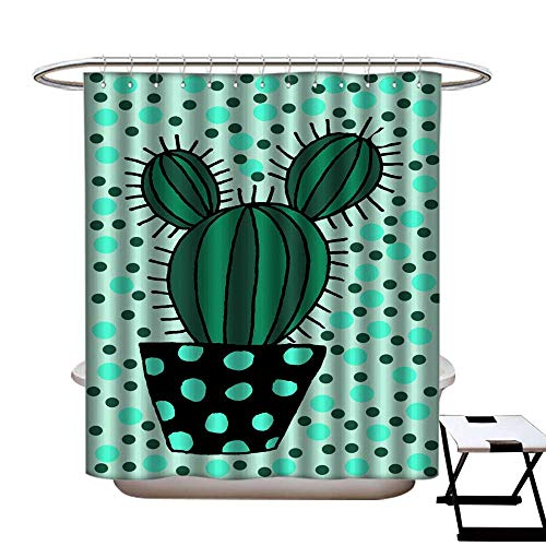 warmfamily Waterproof Bathtub Curtain Mildew Resistant Hand Drawn dot Cactus a Pot Isolated on Color Background illustration11 Shower CurtainW72 x L72
