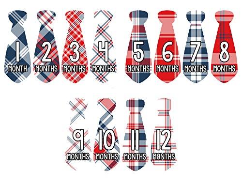 Months in Motion 770 Monthly Baby Stickers Necktie Tie Baby Boy Month Milestone Sticker 12 Different Plaid Designs