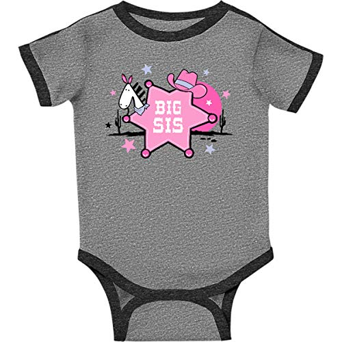 - inktastic - Sheriff Star Infant Creeper Newborn Ringer Heather and Smoke 23801