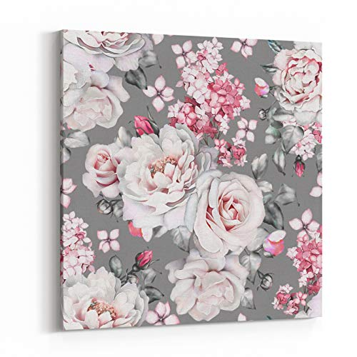 Tile Valentine (Rosenberry Rooms Canvas Wall Art Prints - Seamless Pattern With Flowers And Leaves On Gray Background Watercolor Floral Pattern, Flower Rose, Peonies Tile For Wallpaper Or Fabric (12 x 12 inches))