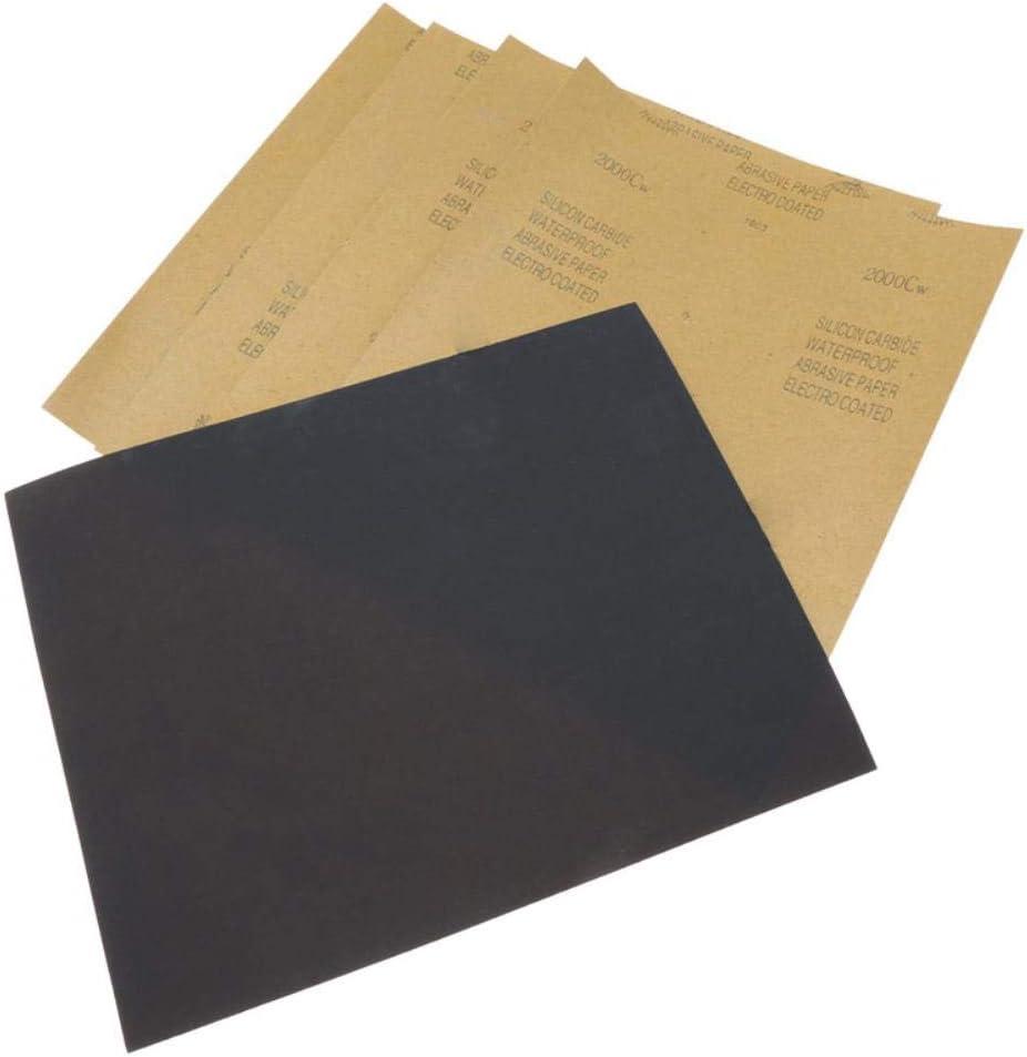5 hojas Papel de lija Papel abrasivo resistente al agua Papel de lija Carburo de silicona Pulido Rectificado Mojado//seco Herramienta 2000 Grano 28 X 23cm