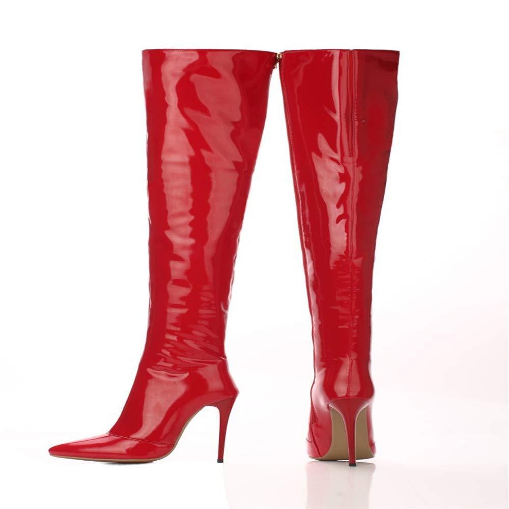Shirloy GlamGoldus Lackierte Damen Lederstiefel Weibliche Spitze Stiletto High Heel Overknee Damen Lackierte Stiefel Große Größe Lange Stiefel 83f71a