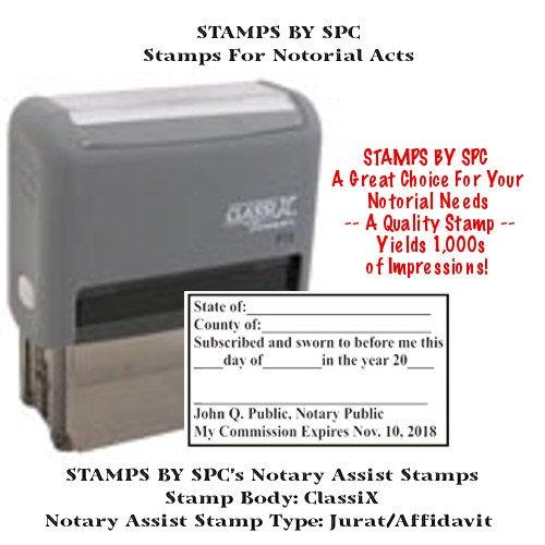 NOTARY SUPPLIES // CUSTOM CLASSIX // SELF-INKING CUSTOM NOTARY JURAT/AFFIDAVIT STAMP // Impression: 1 1/2