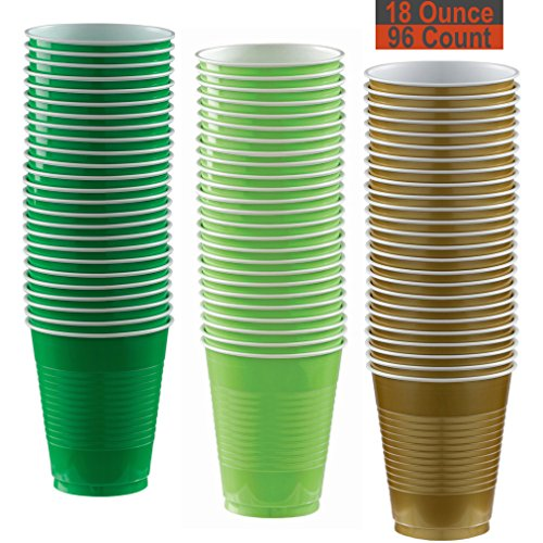 18 oz Party Cups, 96 Count - Festive Green, Lime Green, Gold - 32 Each Color